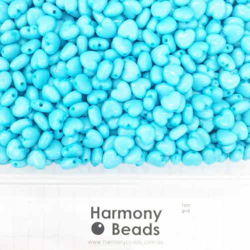 Acrylic Puffy Heart Beads - 11x10mm - OPAQUE AQUA BLUE