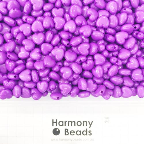 Acrylic Puffy Heart Beads - 11x10mm - OPAQUE BRIGHT PURPLE