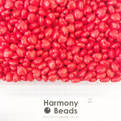 Acrylic Puffy Heart Beads - 11x10mm - OPAQUE BRIGHT RED