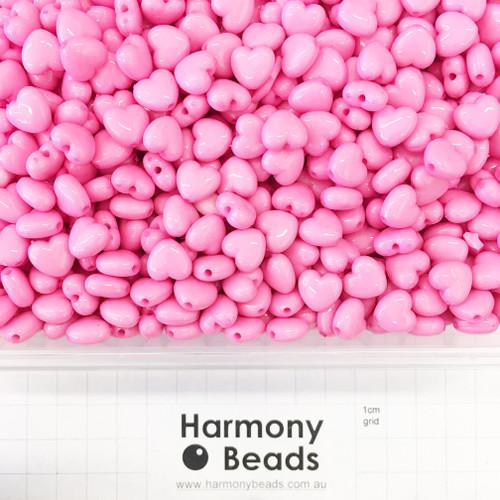 Acrylic Puffy Heart Beads - 11x10mm - OPAQUE MEDIUM PINK