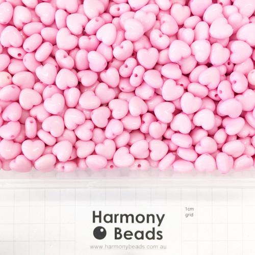 Acrylic Puffy Heart Beads - 11x10mm - OPAQUE LIGHT PINK
