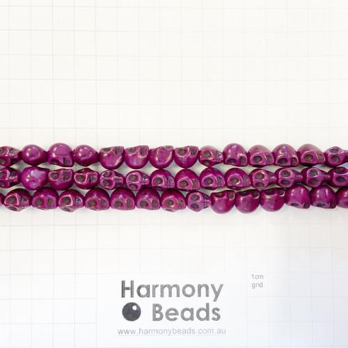 Howlite Shaped Beads , Skulls, Plum Purple (S,D), 8x10mm