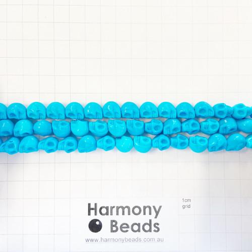 Howlite Shaped Beads , Skulls, Aqua Blue (S,D), 8x10mm