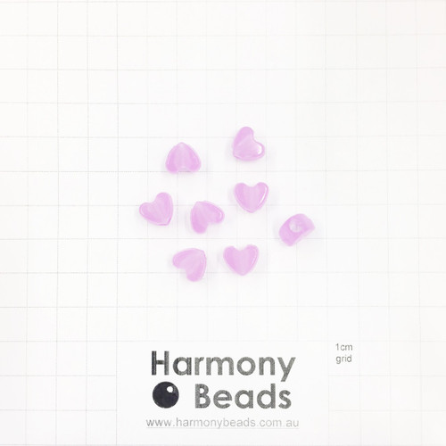 GLOW IN THE DARK Acrylic Plastic Puffy Heart Shaped Beads -10x9mm - GLOW PURPLE