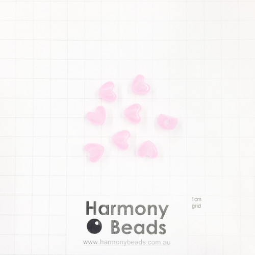 GLOW IN THE DARK Acrylic Plastic Puffy Heart Shaped Beads -10x9mm - GLOW PINK