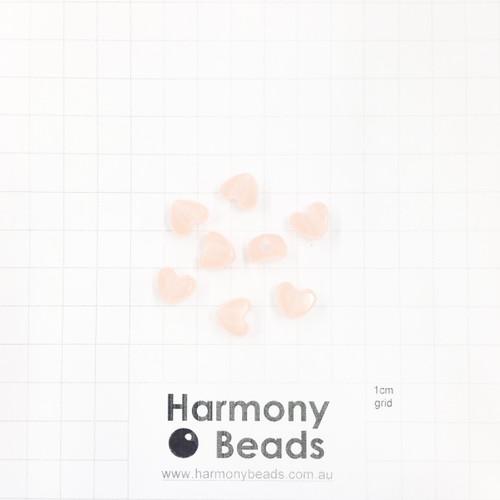 GLOW IN THE DARK Acrylic Plastic Puffy Heart Shaped Beads -10x9mm - GLOW ORANGE
