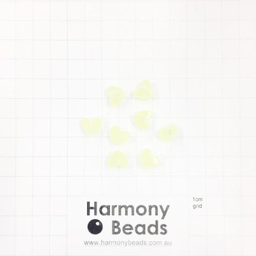GLOW IN THE DARK Acrylic Plastic Puffy Heart Shaped Beads -10x9mm - GLOW YELLOW