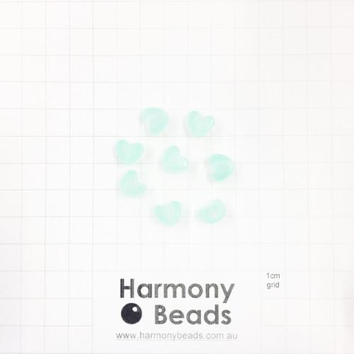 *GLOW IN THE DARK* Acrylic Plastic Puffy Heart Shaped Beads -10x9mm - GLOW MINT GREEN