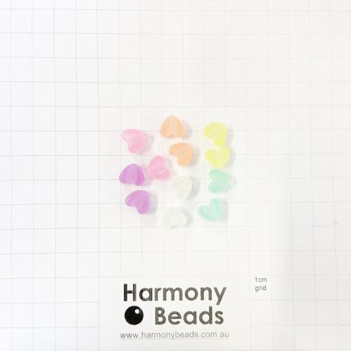 *GLOW IN THE DARK* Acrylic Plastic Puffy Heart Shaped Beads -10x9mm - GLOW MIX [12 pcs]