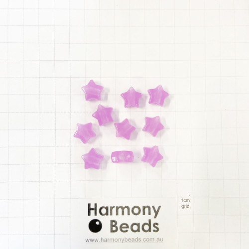 *GLOW IN THE DARK* Acrylic Plastic Large-Hole Puffy STAR Shaped Beads -10x9mm - GLOW PURPLE