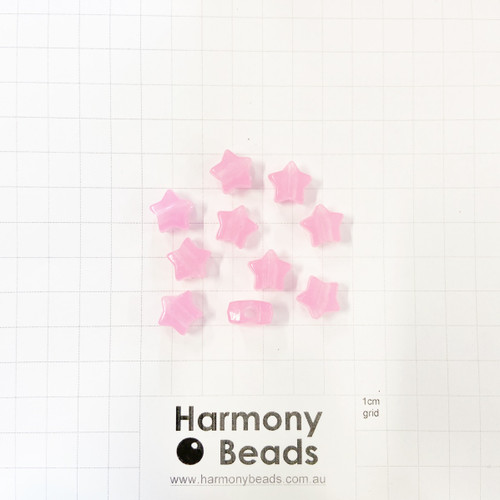 *GLOW IN THE DARK* Acrylic Plastic Large-Hole Puffy STAR Shaped Beads -10x9mm - GLOW PINK