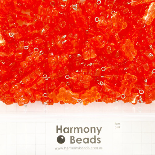 Resin Plastic GUMMY BEAR Charms - 12x22mm - GUMMY STRAWBERRY RED CANDY