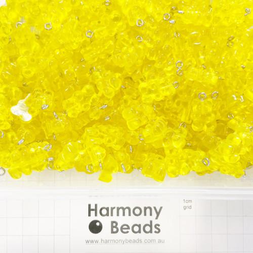 Plastic GUMMY BEAR Charms - 12x22mm - GUMMY LEMON YELLOW CANDY