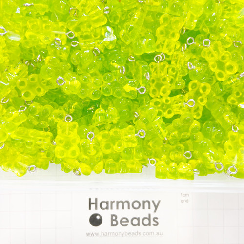 Resin Plastic GUMMY BEAR Charms - 12x22mm - GUMMY LIME GREEN CANDY