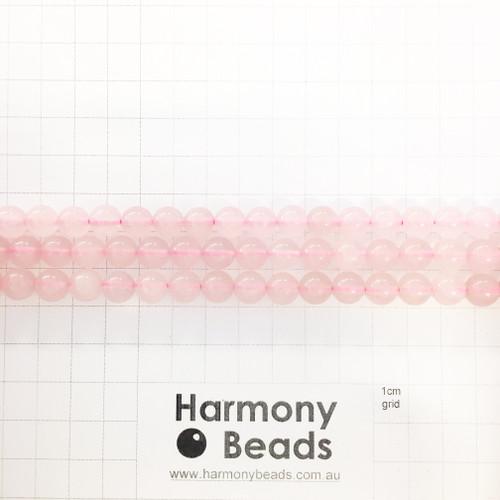 Rose Quartz Smooth Round Beads, Light Pink, 8mm