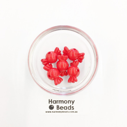 Acrylic Candy Beads - 18x10mm - CHERRY RED OPAQUE [5 pcs]