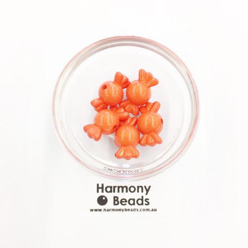 Acrylic Candy Beads - 18x10mm - ORANGE OPAQUE [5 pcs]