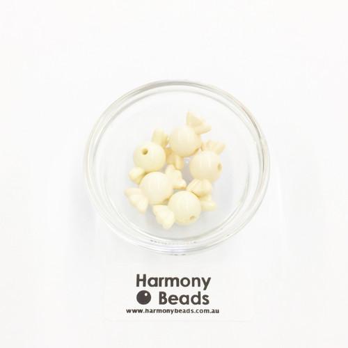 Acrylic Candy Beads - 18x10mm - CARAMEL CREAM OPAQUE [5 pcs]
