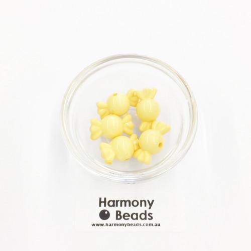 Acrylic Candy Beads - 18x10mm - MANGO YELLOW OPAQUE [5 pcs]