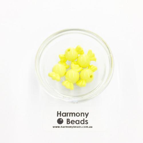 Acrylic Candy Beads - 18x10mm - LEMON YELLOW OPAQUE [5 pcs]