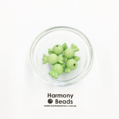 Acrylic Candy Beads - 18x10mm - LIME GREEN OPAQUE [5 pcs]