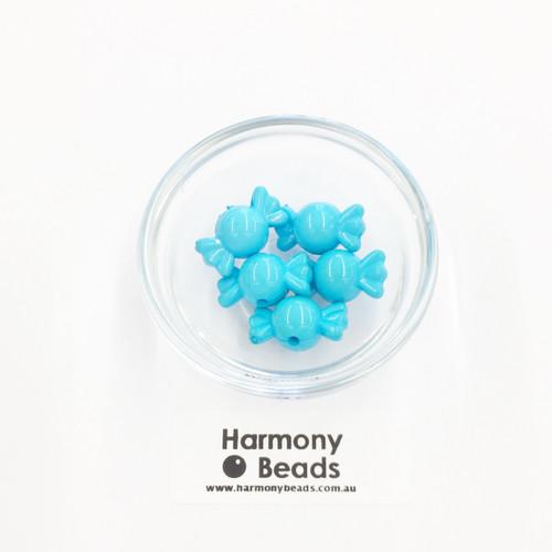 Acrylic Candy Beads - 18x10mm - BLUE JELLY AQUA OPAQUE [5 pcs]
