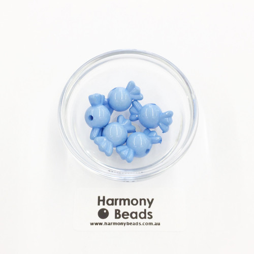 Acrylic Candy Beads - 18x10mm - BLUEBERRY LT BLUE OPAQUE [5 pcs]
