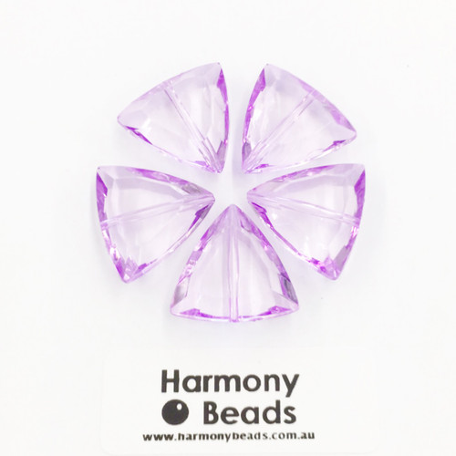 Acrylic Faceted Triangular Beads - 21mm - PURPLE TRANSPARENT [5 pcs]