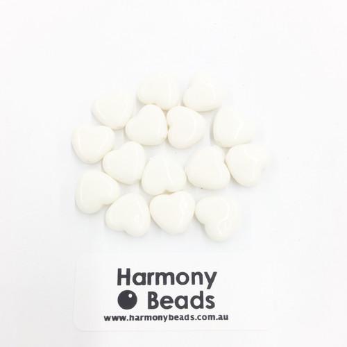 Acrylic Flat Heart Beads - 10mm - CREAM OPAQUE [15 pcs]