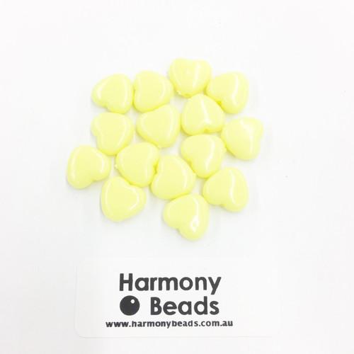 Acrylic Flat Heart Beads - 10mm - NEON YELLOW OPAQUE [15 pcs]