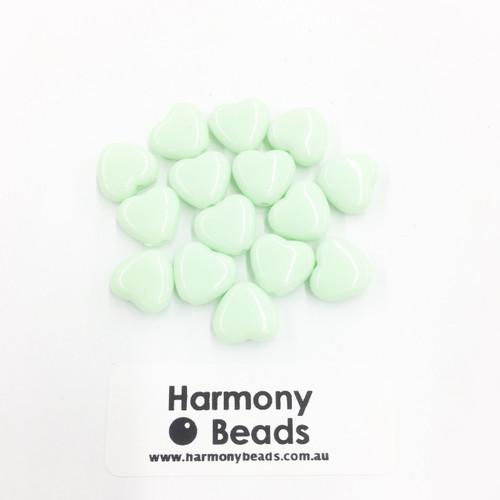 Acrylic Flat Heart Beads - 10mm - PASTEL MINT GREEN OPAQUE [15 pcs]