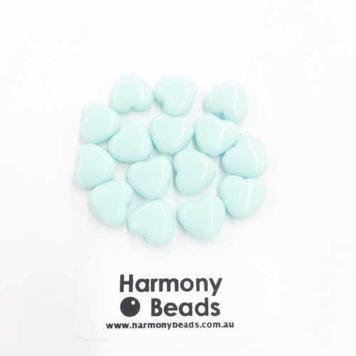 Acrylic Flat Heart Beads - 10mm - PASTEL LT BLUE OPAQUE [15 pcs]