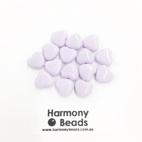 Acrylic Flat Heart Beads - 10mm - PASTEL PURPLE OPAQUE [15 pcs]