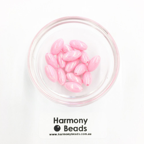 Acrylic Pointed Oval Beads - 7x14mm - NEON PINK OPAQUE AB [15 pcs]