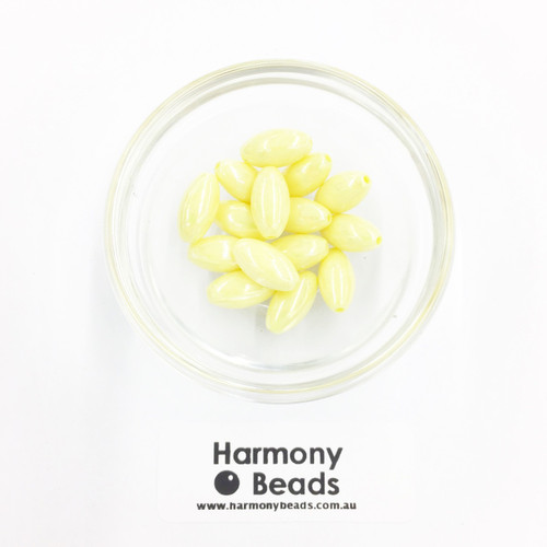 Acrylic Pointed Oval Beads - 7x14mm - NEON YELLOW OPAQUE AB [15 pcs]