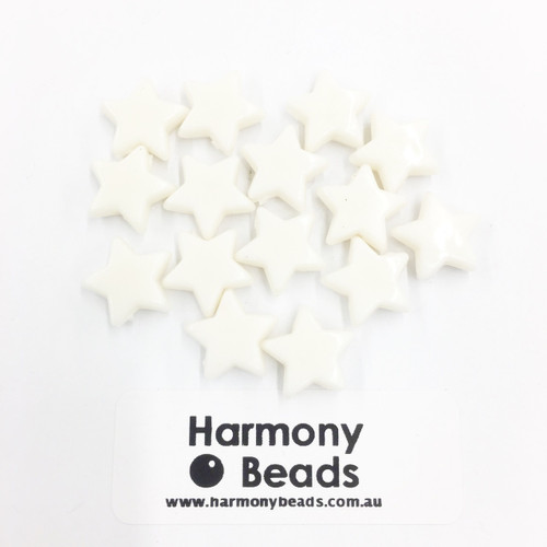 Acrylic Flat Star Beads - 10mm - CREAM OPAQUE [15 pcs]