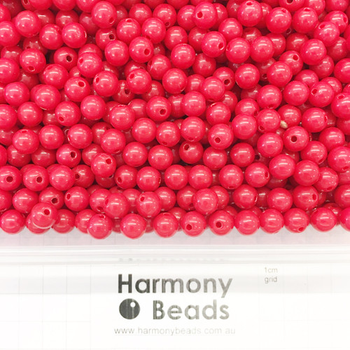 Acrylic Smooth Round Beads - 8mm - RED OPAQUE