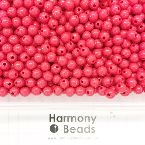 Acrylic Smooth Round Beads - 8mm - WARM RED OPAQUE