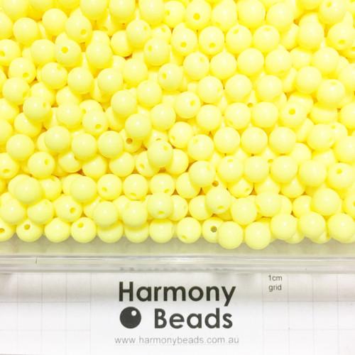 Acrylic Smooth Round Beads - 8mm - OPAQUE LEMON YELLOW