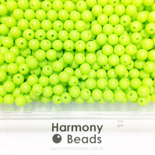 Acrylic Smooth Round Beads - 8mm - LIGHT GREEN OPAQUE