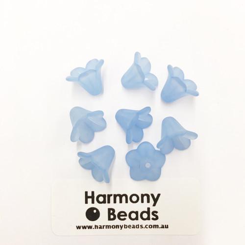 Acrylic Bell Flower Beads or Bead Caps - 14x10mm - LT BLUE MATTE [8 pcs]