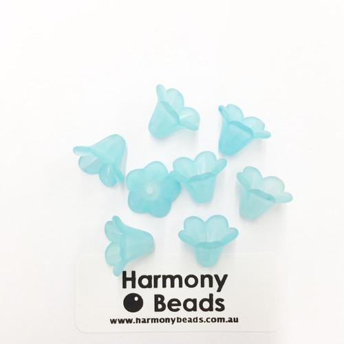 Acrylic Bell Flower Beads or Bead Caps - 14x10mm - AQUA MATTE [8 pcs]