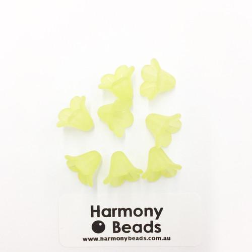 Acrylic Bell Flower Beads or Bead Caps - 14x10mm - LT GREEN MATTE [8 pcs]