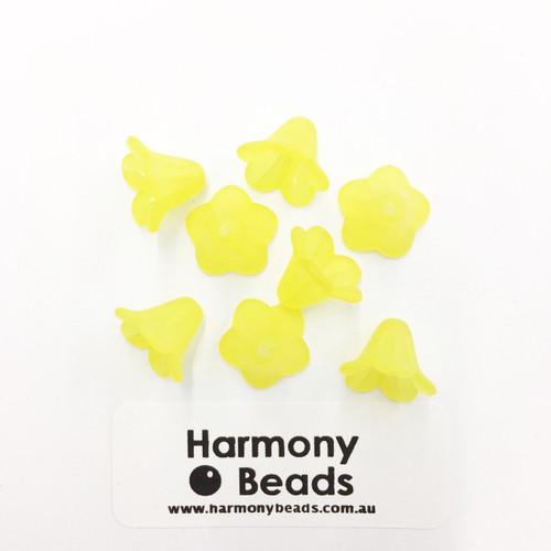 Acrylic Bell Flower Beads or Bead Caps - 14x10mm - LEMON MATTE [8 pcs]