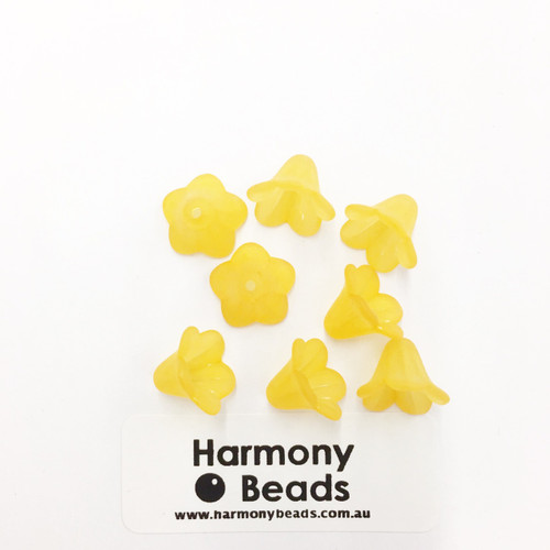 Acrylic Bell Flower Beads or Bead Caps - 14x10mm - YELLOW MATTE [8 pcs]