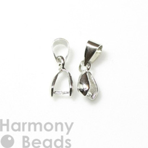 Pinch Pendant Bails 13mm Silver Colour [2 pcs]