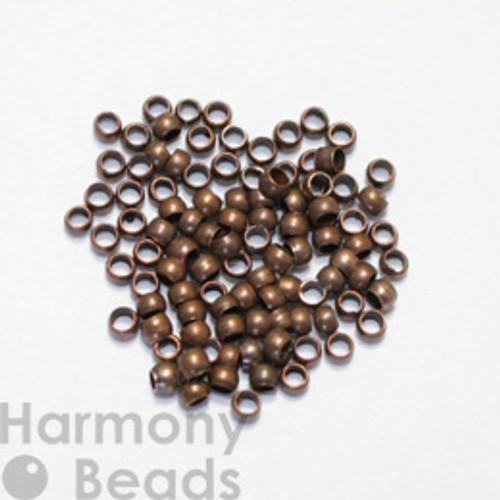 Crimp Beads, 2mm Antique Copper Colour [50 pcs]