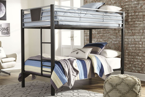 Dinsmore Black/Gray Twin/Twin Bunk Bed w/Ladder img