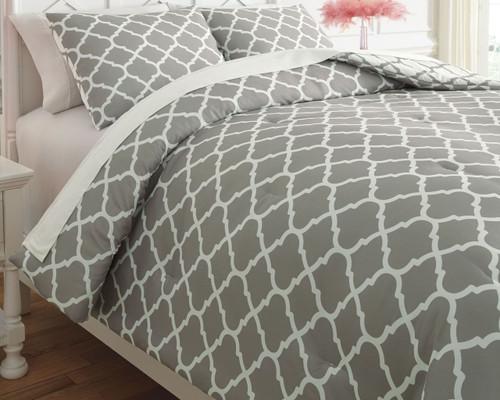Media Gray/White Twin Comforter Set img