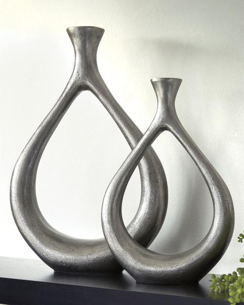 Dimaia Antique Silver Finish Vase  (2/CS) img